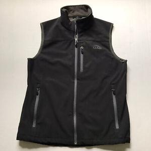 L.L. Bean Men's Sz M Black Ridge Runner Soft Shell Full Zip Vest Zipped Pockets