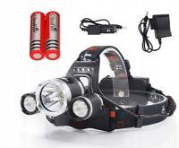 Lampe Frontale à LED triple spot rechargeable 2 en 1 avec 3 niveaux d'éclairage