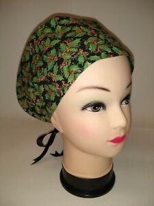 Christmas Holly on Black 100% Cotton Tie Back Euro Style Scrub Hat/Cap NWOT USA