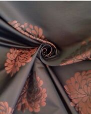 11 Metres Striped Floral Brocade Curtain Fabric In Chocolate & Copper