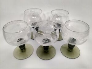 Antique German Rhine Rhein Roemer Green Wine Glasses Etched Goblets Set of 5