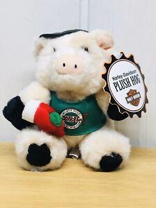 "1998 Harley Davidson Christmas North Pole Club Hog Pig 6.5"" Plush Stuffed Animal"