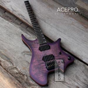Grote Satin finish Purple Burst Koa top Headless Electric Guitar Black Hardware