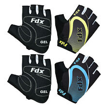 FDX Cycling Gloves Half Finger Gel Foam Padded Bike Fingerless Gloves Lightweigh