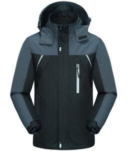 Mens Outdoor Jacket Waterproof Hooded Sports Outwear Coat Soft shell Hiking
