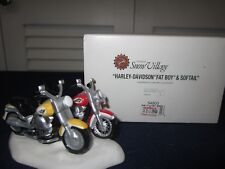 Dept 56 HARLEY DAVIDSON FAT BOY & SOFTAIL #54900 NRFB Retired 2001 Snow Village