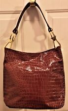 "NWT New Directions Purse, Faux Cognac (Amber) Crocodile, 12""T x 10""W"