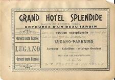 Stampa antica pubblicità GRAND HOTEL SPLENDIDE Lugano 1899 Old antique print