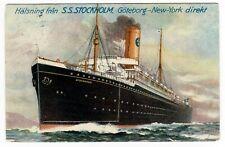 S/S Stockholm Swedish American Line New York Vanity Card 1917