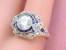 Art Deco 4.50 Ct White Diamond Blue Sapphire Engagement Wedding Ring 925 Silver