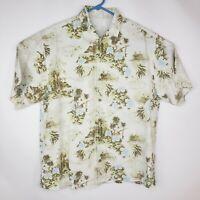 Tommy Bahama 100% Silk Hula Girl Island Hawaiian Palm Tree Camp Shirt Mens Sz L