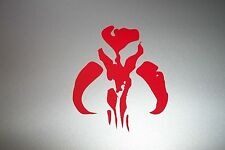 "Boba Fett BANTHA Vinyl Decal Sticker Skull 7"" RED"