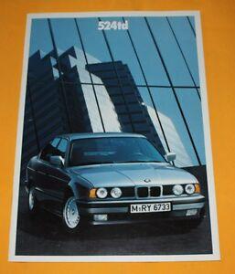 BMW 524 td E34 1988 Prospekt Brochure Depliant Catalogue Prospetto Catalog