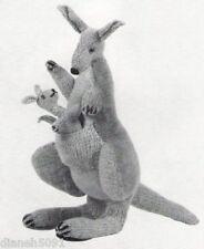 Vintage Kangaroo & Baby Stuffed Toy Knitting Pattern