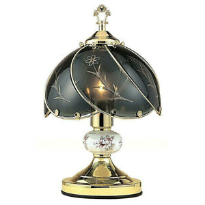 Black Glass with Floral ceramic On/Off Touch Lamp, Brass finish  14in Height.