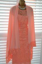~ TIA ~ Designer Coral Peach Lace Dress & Wrap Size 12 14 Mother of the Bride