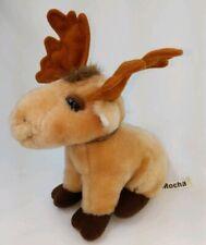 Vintage Russ Berrie Mocha the Moose Plush Stuffed Animal Brown Bow