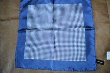 $145 NWOT TOM FORD Mid Blue White Houndstooth silk pocket square handkerchief