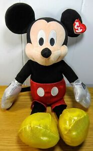 Mickey Mouse Disney TY Sparkle Plush Stuffed Animal EUC Tags Beanie Buddies