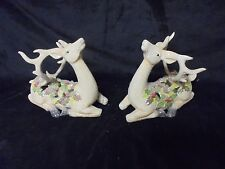 Unique Pair Of Cream colored  Gersion International Glittered Reindeer 9""
