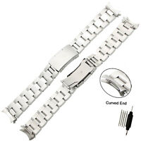 Stainless Steel Watch Band Solid Link Curved End Bracelet Strap 18~24mm