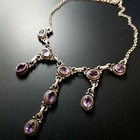 Sterling Silver 925 Amethyst Stones necklace vintage