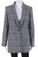 Calvin Klein Womens Glen Check One Button Blazer Black White Size 14 Petite