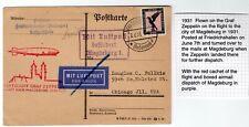 1931 Graf Zeppelin Flight to Magdeburg on Postcard