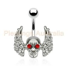 Wing Skull Belly Button Barbell Navel Bar Ring Body Piercing Jewellery