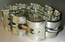 VINTAGE MODERNIST TEXTURED  BRACELET RHODIUM PLATED   RARE  by LISNER