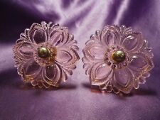 Antique Set of 2 Clear Pink Flower Glass Pull Door Knobs