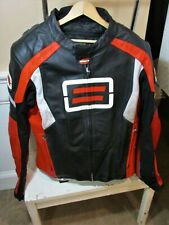 Men's SHIFT Black Red Leather Racer Motorcycle Jacket Size XXL Liner Armored