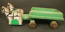 Vintage Wooden Horses Pulling Wagon Wood Pull Toy Rare Collection Wooden Wheels