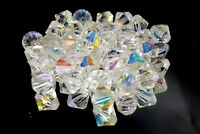 Art Deco Czech Aurora Borealis glass beads x 36.