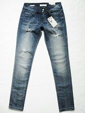 New! VIGOSS sz 1 Skinny Leg Faded Dark Wash Distressed Blue Jeans Stretch Womens