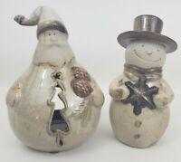 "Ceramic Santa Tealight Candle Holder & Snowman Figure - Christmas - Country 8"""