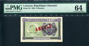 Lebanon 1942, 5 Piastres, P34, PMG 64 UNC