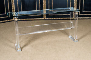 Exclusive Acrylic Console with Gold & Columns L.153 CM X T.40 CM