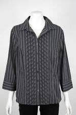 Jacqui E 3/4 Sleeve Button Down Shirt Striped Tops & Blouses for Women