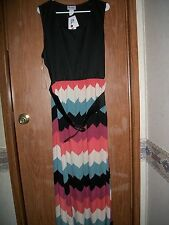 NWT URBAN ROSE MULTICOLORED CHEVRON PRINT BELTED DRESS PLUS SIZE 2X