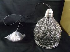 "HANGING GLASS LIGHT FIXTURE 8-1/4""W x 77""H (DOME 11"") CT1901-PT ***NIB***"