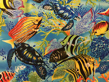 Tropical Fish By Michael Miller Sea Turtles Ocean Corals Cotton Fabric Half Yard