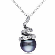 Sterling Silver 8-8.5 mm Tahitian Pearl & 1/10 ct Diamond Pendant Necklace 18""