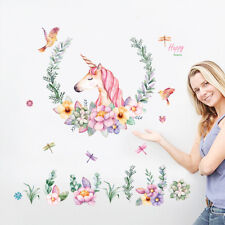 DIY Unicorn Flower Removable Vinyl Decal Wall Sticker Art Mural Home Room Decor