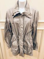 Chico's Jacket Size 1 Gray Zipper Snap Front Drawstring Pockets Lightweight
