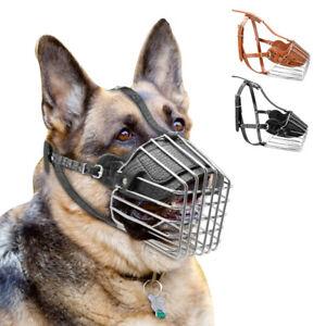 Leather Basket Muzzle for Large Dogs Pit bull Doberman German Shepard Adjustable