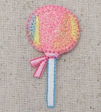 Iron On Embroidered Applique Patch Pink Blue Yellow Sparkle Lollipop Candy