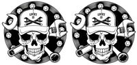 LUCKY 13 STICKER  RETRO SKULL AND SPANNERS MECHANIC RACE CAR  STICKER PAIR