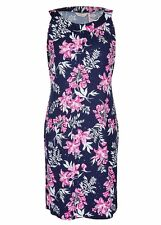 Stunning Blue INK PINK SEQUIN floral Print dinner Party DRESS stretchy 20