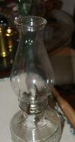 Vintage Clear Pressed Glass Kerosene / Oil Glass Lamp w burner beaded shade